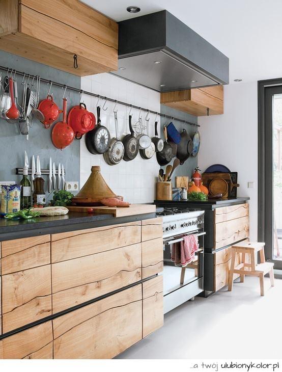 obrazek, kuchnia, drewno, nowoczesna, wymarzona, zdjęcie