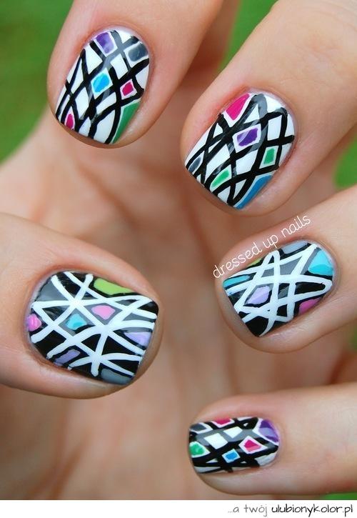 Obrazek Kolorowe Biały Paznokcie Wzorki Nails Czarny Zdjęcia