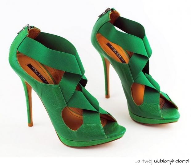 504724fade108 zara, szpilki, zielone, intensywny kolor, damskie, buty, przeplatane