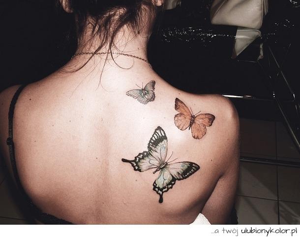 Obrazek Piękne Tatuaż Niesamowite Plecy Motyl Zdjęcia I