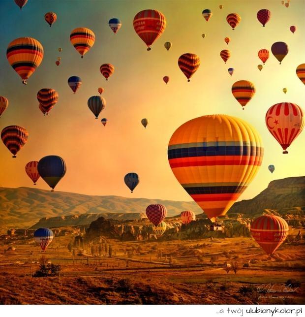 zdjęcie, balony, inspiracja, widok, zachód, pustynia, niebo