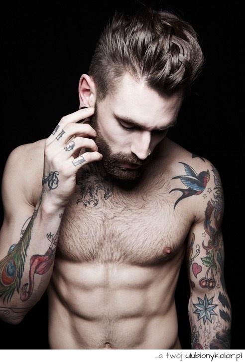 Obrazek Sexy Tatuaż Fitness Facet Chłopak Ptak